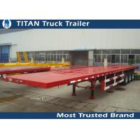 Cheap Tri - axle container semi flatbed trailers , red flatbed gooseneck trailers for sale