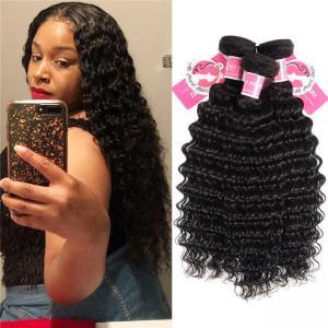 Cheap Deep Wave Peruvian Human Hair Bundles 3 Pieces Virgin Remy Hair Weave for sale