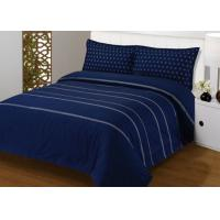 Cheap 4Pcs Blue Bedding Sets , 100% Cotton Diamond Embroidered Navy Simple Bedding Sets wholesale