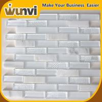 China White Glass Stone Mosaic Tile Bathroom Transparent 298x298 mm on sale