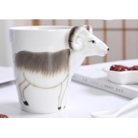Cheap Three Dimensional Cattle 15 Ounce Painting Ceramic Mugs for sale