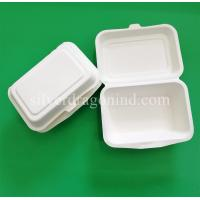 China Disposable Biodegradable Sugarcane Pulp Paper Lunch Box, sugarcane clamshell 600ml on sale