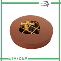 Cheap Decorative Brown Round Chocolate Boxes Packaging With Transparent Window wholesale