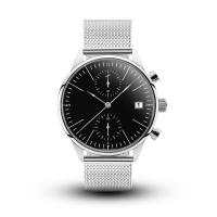 Cheap Custom Logo Chronograph Silver Stainless Steel Watch With Black Face for sale