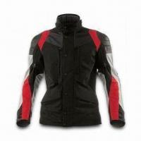 Cheap Motorcycle Jacket with Polyester Shell Fabric, PU Coating and Detachable Quilted Lining for sale