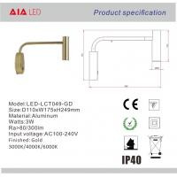 Quality Surface mounted adjusting angle gold led headboard wall light/led book reading wholesale
