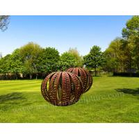 Cheap Amazing Ball Corten Steel Sculpture Rusty Surface As Outdoor Garden Decoration for sale