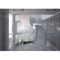 Cheap Marble steps stainless steel curved staircase indoor design for sale