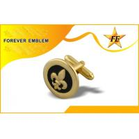 Cheap Contemporary Gold Metal Round Custom Cufflinks Fathers Day Gift Idea for sale