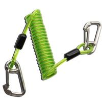 Cheap Plastic TPU Coiled Tool Lanyard Double Stainless Steel Carabiner Hooks Green Color for sale