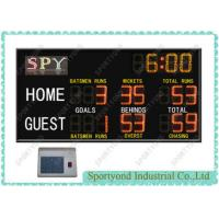 Cheap Red / Yellow Electronic Cricket Scoreboard , Outdoor Football Electronic Scoreboards, timer display for sale