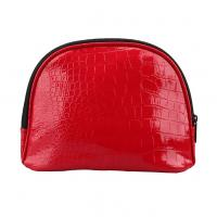 Girl PU Red Leather Makeup BagZip Around With Separate Compartments