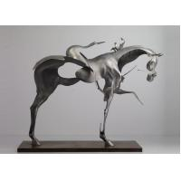 Cheap 170cm Life Size Abstract Stainless Steel Horse Sculpture Brushed Finishing for sale