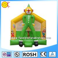 Cheap OEM Clown Inflatable Combo Bouncers Commercial Jumping Castle Green Yellow for sale