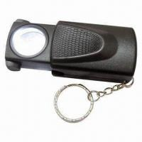 Multi-function Push and Pull Magnifier with LED Light and Keychain, Used for Currency Detecting