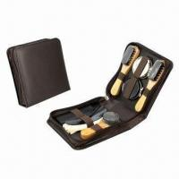 Cheap Shoe shine set, made of PU leather and wood for sale