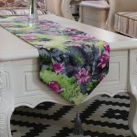 Printed flowers lotus and leaf polyester cotton table runner wholesale