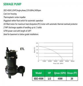 Cheap SEWAGE PUMP SDZ-450X for sale