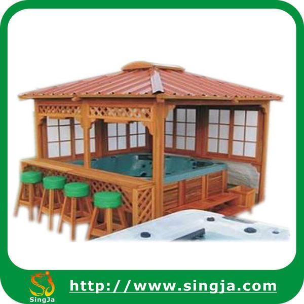 Outdoor hot tub wooden gazebo wg 06 of singja for Wooden gazebo for hot tub