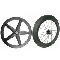 Cheap Light Weight Carbon Track Bike Wheels Tubular Front 5 Spoke With Super Strength for sale