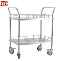 Cheap Medical stainless steel treatment trolley with handle, double layers drug transport cart for sale