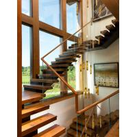 Cheap Wooden staircase straight stair with laminated glass railing modern design for sale