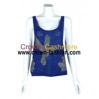 Cheap women intarsia knitting cashmere tank tops for sale