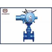 Double Flanged Resilient Seated Gate Valve Electric Opration Blue Color Body
