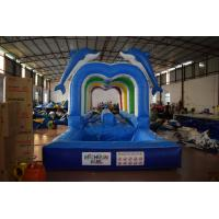 Cheap Durable Commercial Inflatable Water Slides , Cute Dolphins Cartoon Long Water Slip N Slide for sale