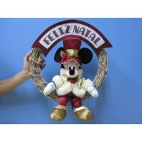 Cheap Mickey Mouse Disney Plush Toys with Wreath / Christmas Holiday Stuffed Toys for sale