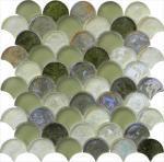 Cheap Grey green mix water waving glass mosaic for sale