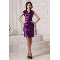 Cheap Purple V Neck Sheath Ruffle Satin Prom Dresses For Formal Party Dresses for sale