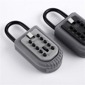 Cheap Economic 10 Push Button Metal Key Lock Box Portable With Light Grey Cap for sale