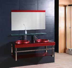 China Double Galss Washbasin Bathroom Vanity Cabinet (5158) on sale