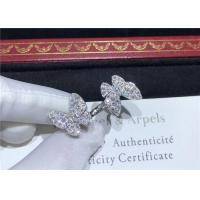 Cheap 18K White Gold Van Cleef And Arpels Butterfly Ring With 70 Diamonds for sale