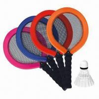 China Children's badminton rackets, made of polyester, PVC, PP and rubber on sale