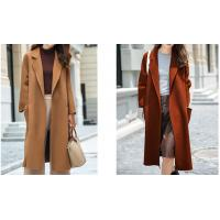 Cheap Camel / Caramel Long Wool Coats Double Faced No Buttons Tailored Collar for sale