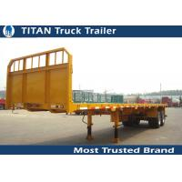 Cheap Tri - axle flatbed semi trailer truck for Carry container , hoses , cement bags for sale