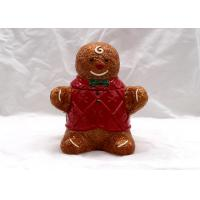 China Gingerbread Man Ceramic Cookie Jar Holiday Gifts With Red Cloth Cookie Jar on sale