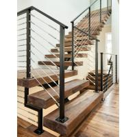 Cheap Carbon steel center stringer L-shape solid wood staircase with glass railing for sale