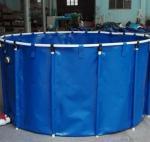 Cheap 2M*1M 5000L Tarpaulin Fish Tank / Folding Round Fish Pond For Aquaculture for sale