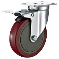 """Cheap 5""""X1-1/4"""" Industrial Trolley PU Caster Wheel With Total Locking Brakes Heavy Duty for sale"""