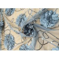 Cheap 3D Embroidered Flower Sequin Lace Fabric With Cirrus Beaded For Ceremony Gown for sale