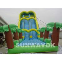 Cheap Green Large Inflatable Water Games Blow Up Water Slide For Theme Park for sale
