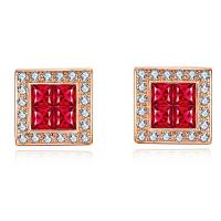 Ruby And Diamond Cluster Earrings , Rose Gold Authentic Ruby Earrings