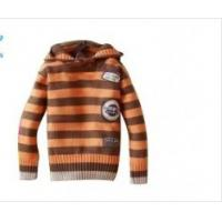 Cheap  OEM Orange And Brown Stripes Long Sleeve Hooded Knitted Baby coat Wear For Boys  for sale