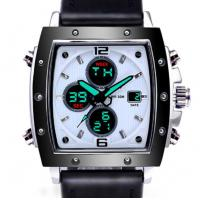 Cheap Dual Display analog and digital custom logo watches waterproof 30m men Leather strap wrist watches for sale