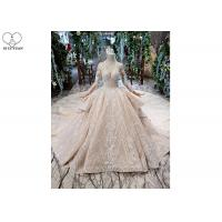 China Irregular Ladies Bridal Dress , Beaded Ball Gown Wedding Dress Two Layer Trailing on sale