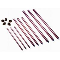 Buy cheap Pole Line Hardware copper bonded earthing rods , 0.254mm lightning grounding rod Copper Coating from wholesalers