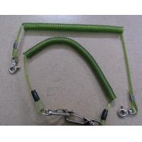 China Custom size green spiral coil lanyard leash with heavy duty snap hooks good tool tether on sale